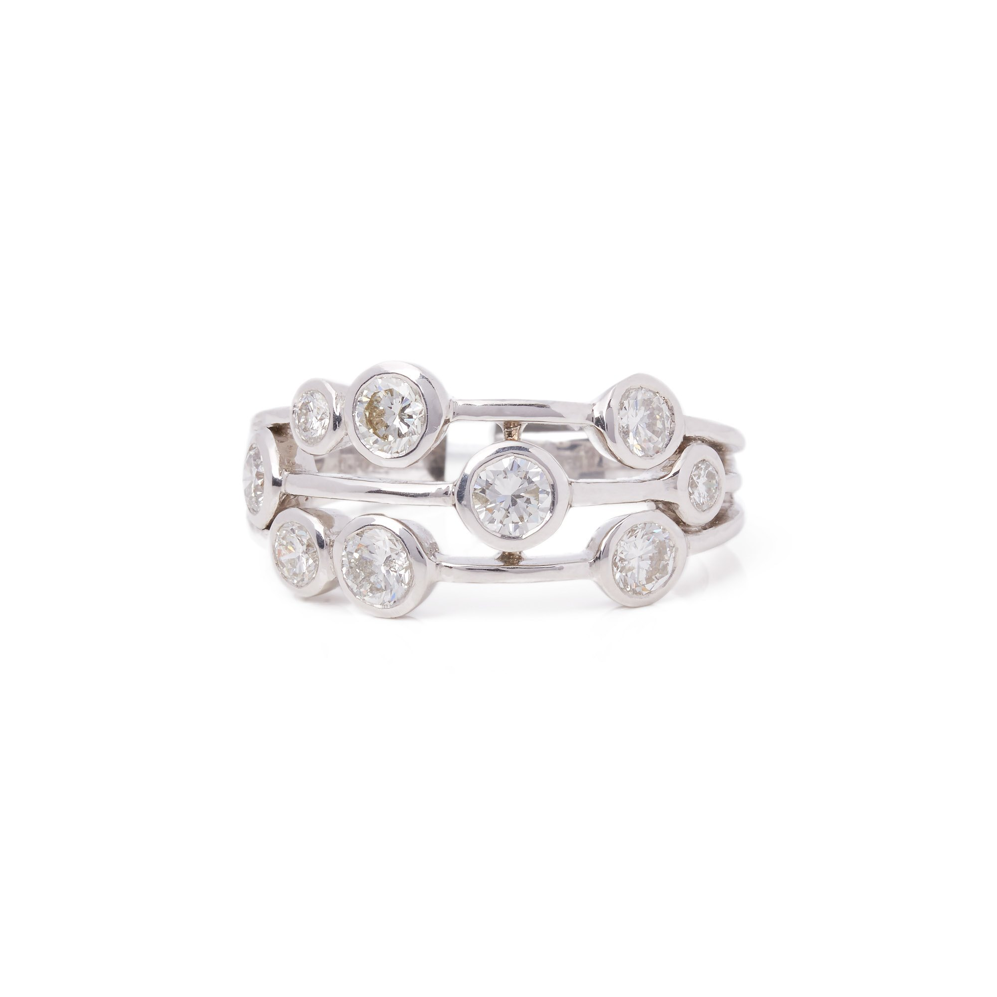 Diamond 18k White Gold Round Brilliant Cut Multi Set Dress Ring 1.24cts