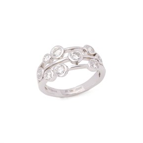 18k White Gold Round Brilliant Cut Multi Set Dress Ring 1.24cts