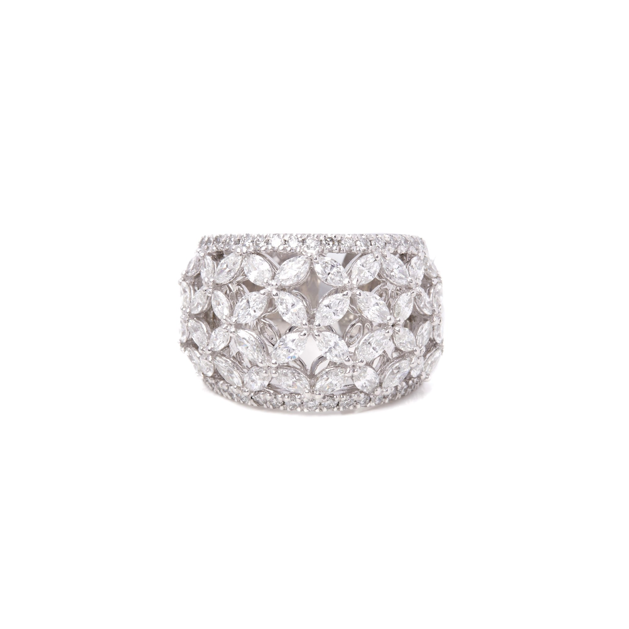 Diamanten Platinum Marquise Diamond Flower Ring 2.14cts