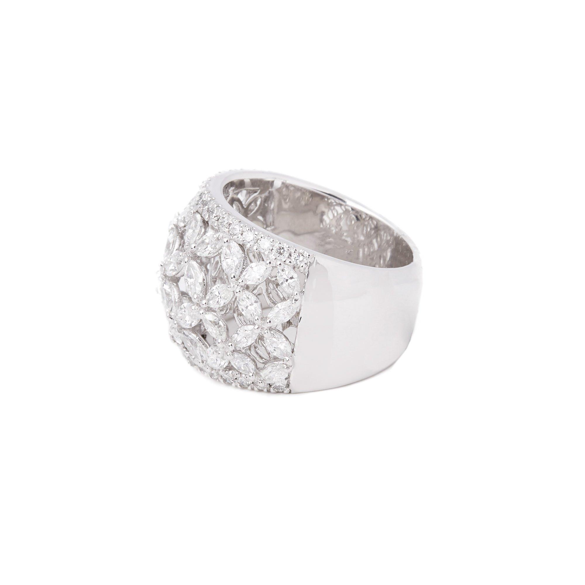 Diamond Platinum Marquise Diamond Flower Ring 2.14cts