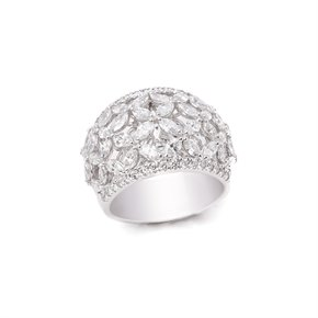 Platinum Marquise Diamond Flower Ring 2.14cts