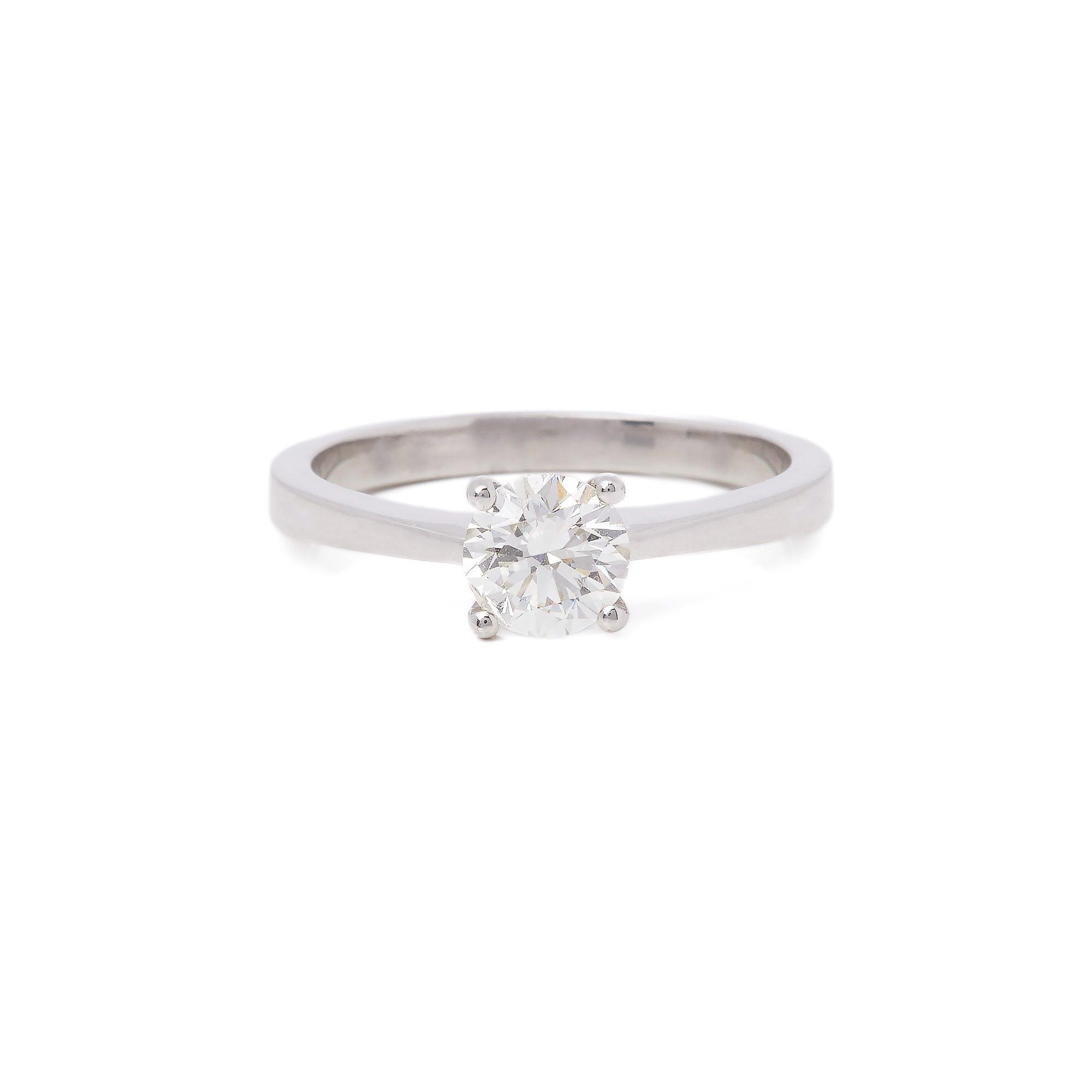 Diamond Platinum Round Brilliant Cut Diamond Solitaire Ring 0.68cts