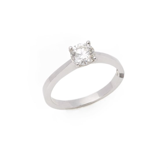 Platinum Round Brilliant Cut Diamond Solitaire Ring 0.68cts