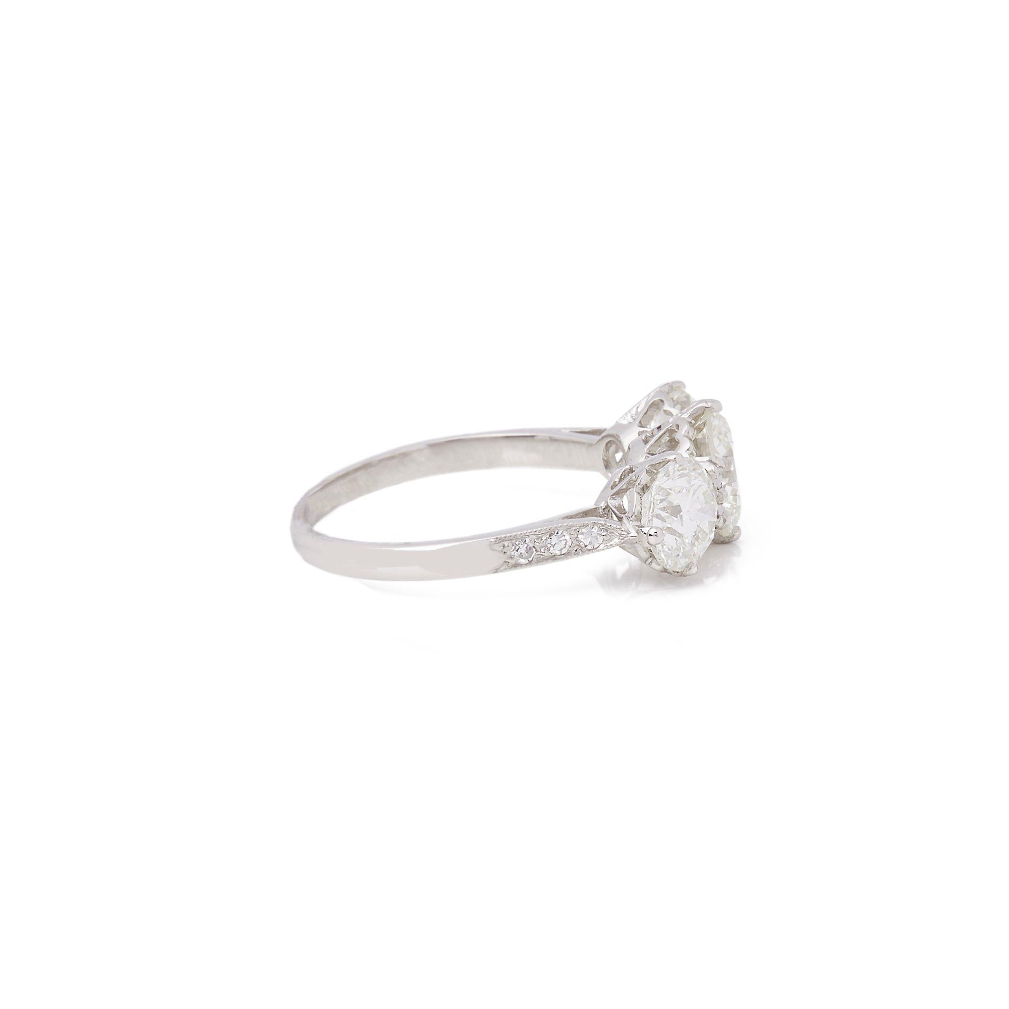 Diamond Platinum Round Brilliant Cut Diamond Three Stone Ring 3.14 cts