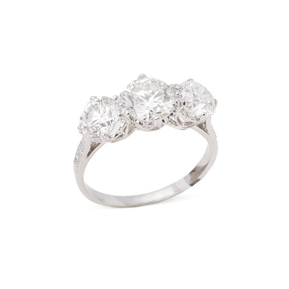 Platinum Round Brilliant Cut Diamond Three Stone Ring 3.14 cts