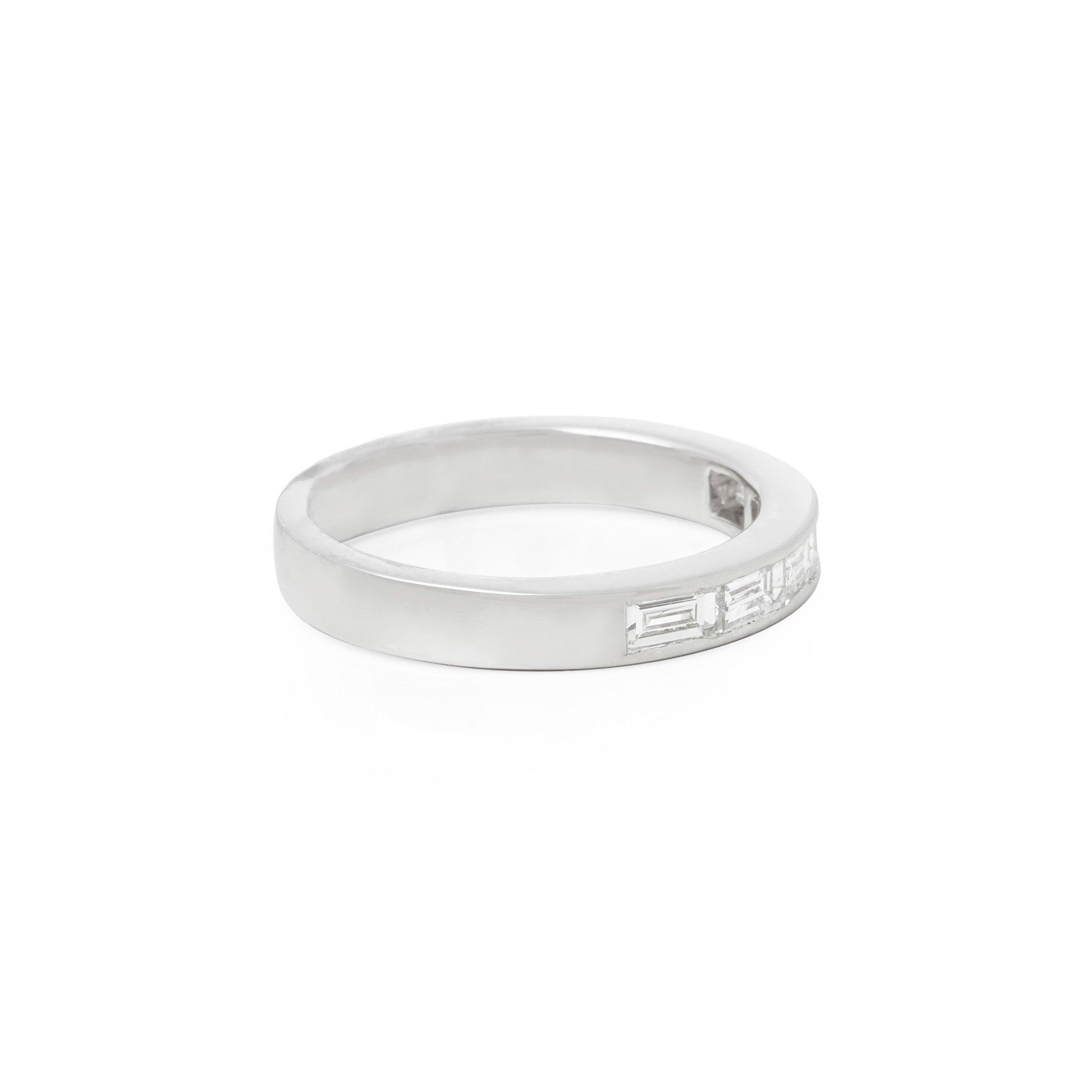 Diamanten Platinum Five Stone Baguette Diamond Half Eternity Ring 0.75cts
