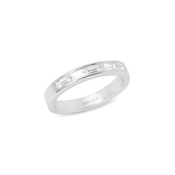 Platinum Five Stone Baguette Diamond Half Eternity Ring 0.75cts