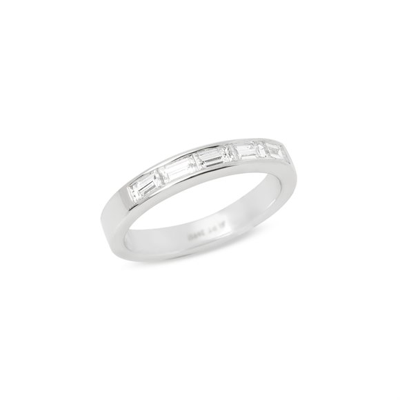 Platinum Five Stone Baguette Diamond Half Eternity Ring 0.75cts