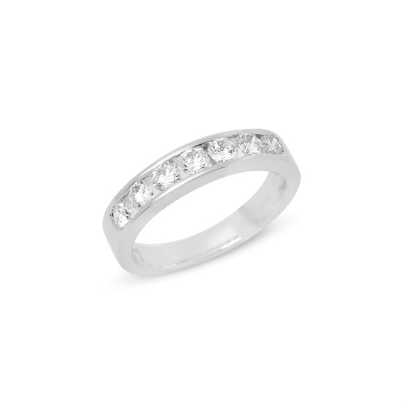 Platinum Round Brilliant Cut Diamond Half Eternity Ring