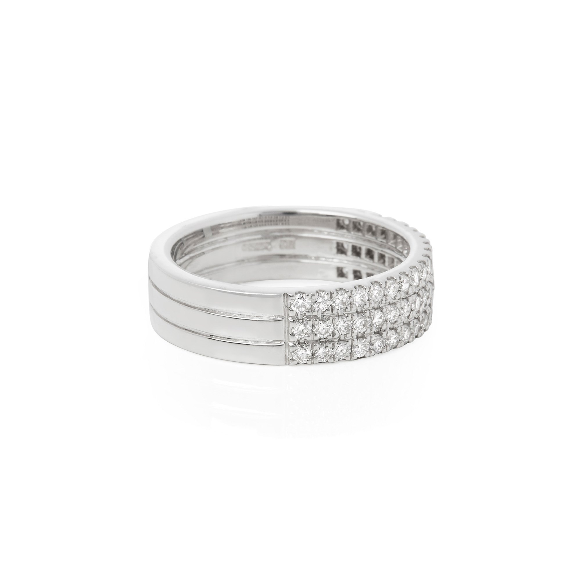 Diamond Platinum Round Brilliant Cut Diamond Three Row Eternity Ring 0.71cts