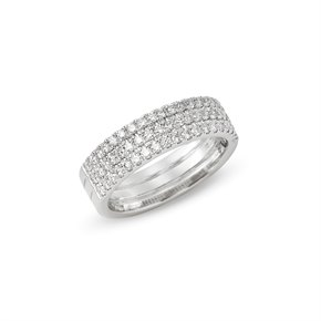 Platinum Round Brilliant Cut Diamond Three Row Eternity Ring 0.71cts
