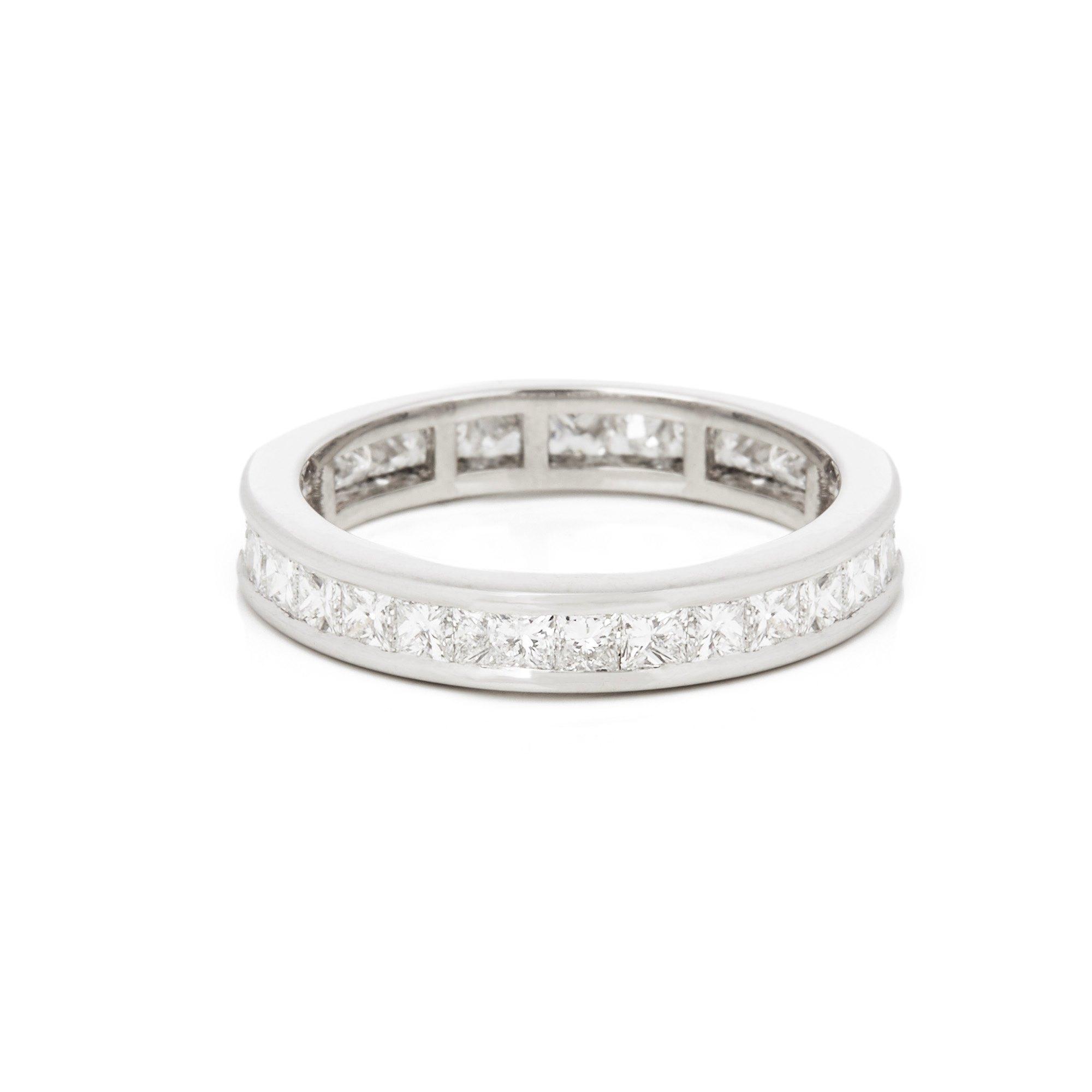Diamond Platinum Princess Cut Diamond Full Eternity Ring 1.70 carats