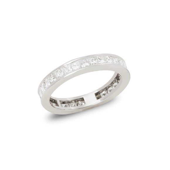Platinum Princess Cut Diamond Full Eternity Ring 1.70 carats
