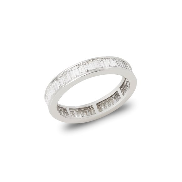 Platinum Baguette Cut Diamond Channel Set Full Eternity Ring 1.67cts