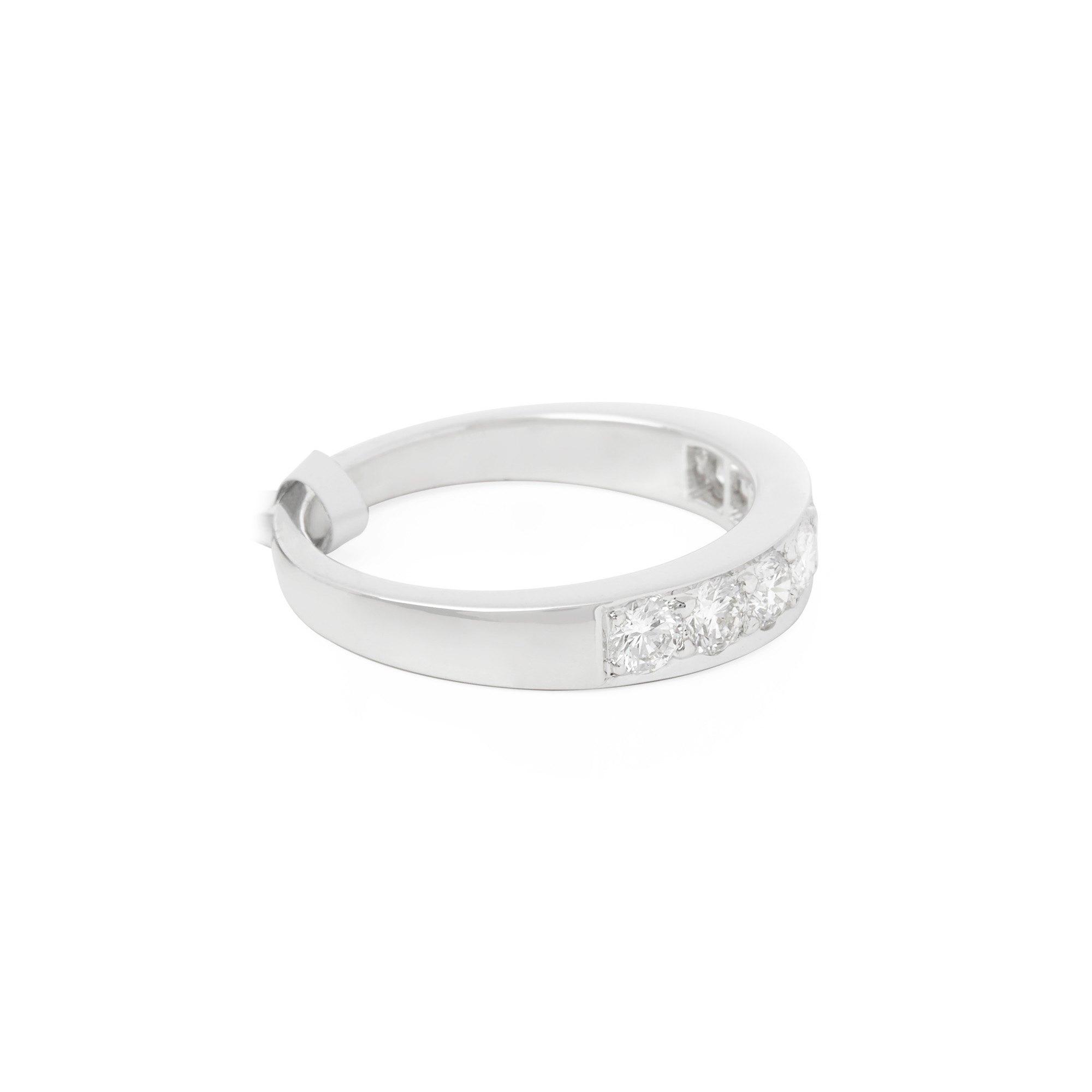 Diamanten Platinum Round Brilliant Cut Diamond Grain Set Half Eternity Ring