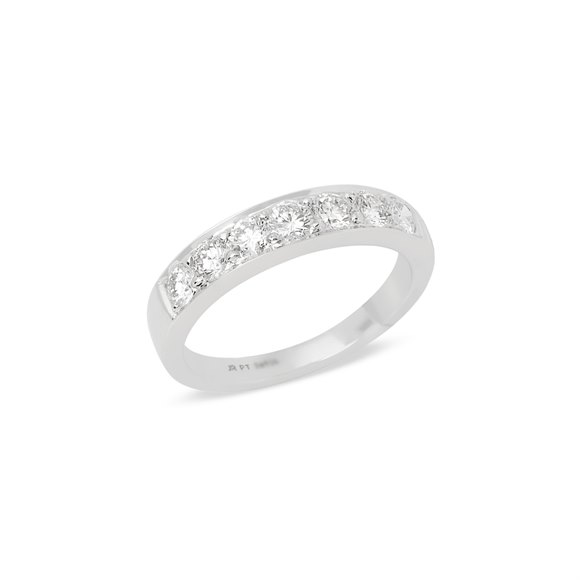 Platinum Round Brilliant Cut Diamond Grain Set Half Eternity Ring