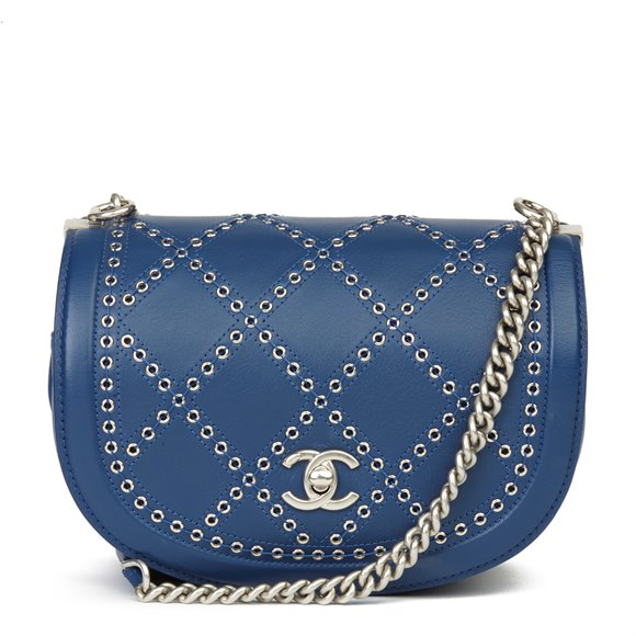Chanel Blue Quilted Calfskin Coco Eyelets Round Flap Bag