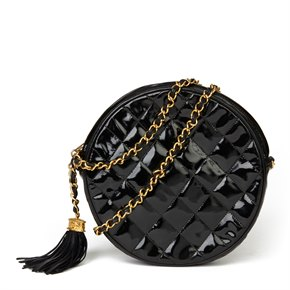 Chanel Black Patent Leather Vintage Round Fringe Shoulder Bag