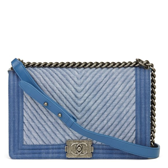 Chanel Blue Chevron Quilted Denim New Medium Le Boy