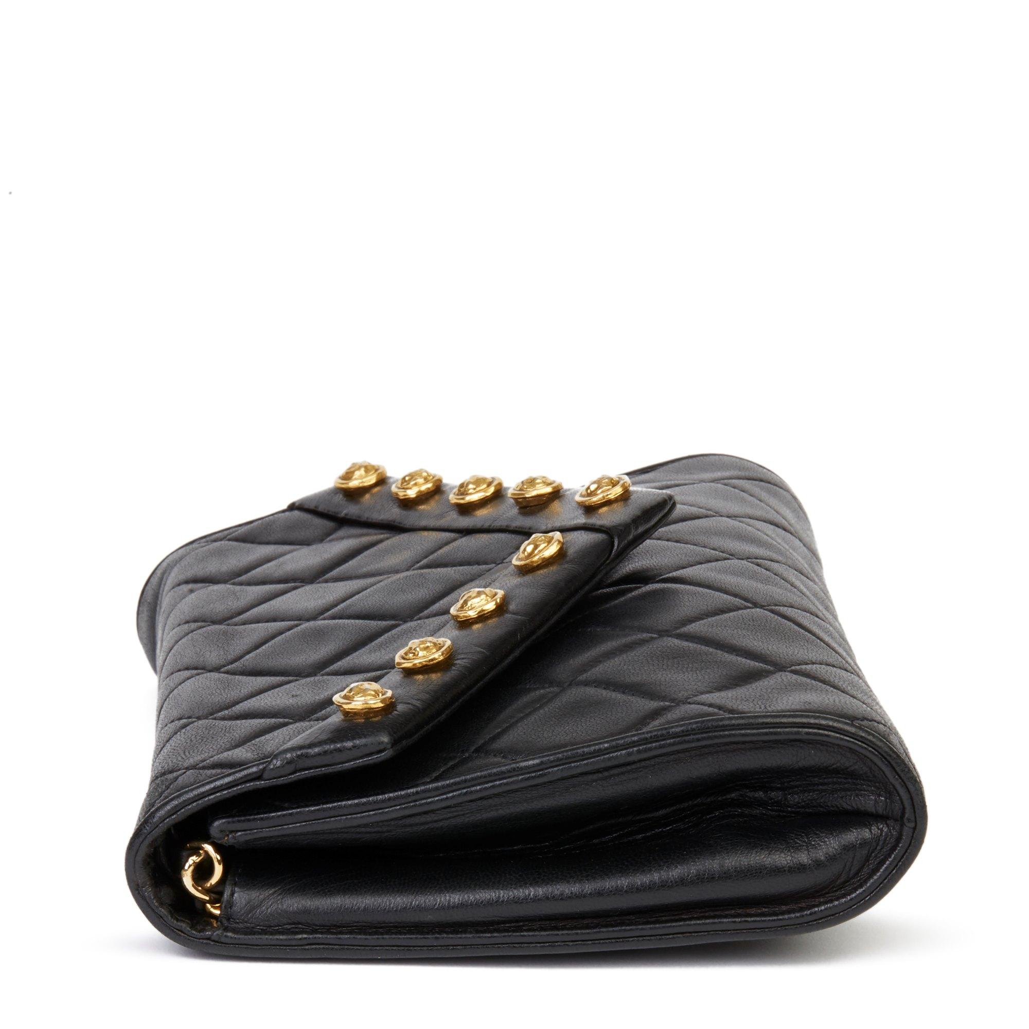 Chanel Black Quilted Lambskin Vintage Studded Envelope Single Flap Bag