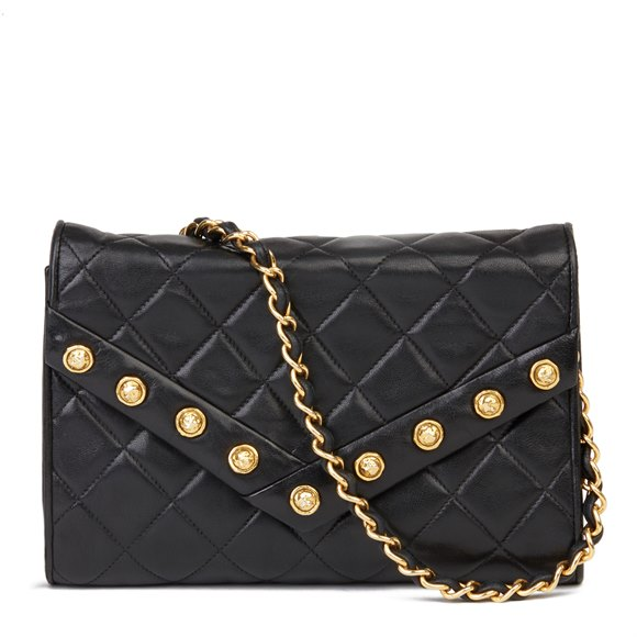 Chanel Black Quilted Lambskin Vintage Studded Envelope Single Flap Bag