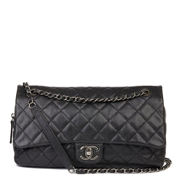 Chanel Black Quilted Caviar Leather Jumbo Easy Carry Flap Bag