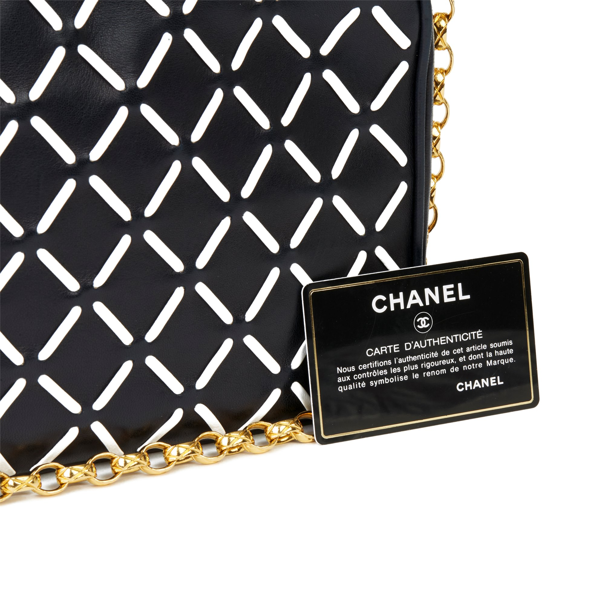 Chanel Navy & White Woven-Stitched Lambskin Vintage Timeless Fringe Camera Bag