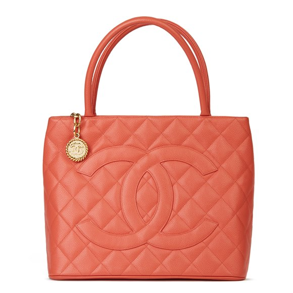 Chanel Coral Quilted Caviar Leather Medallion Tote