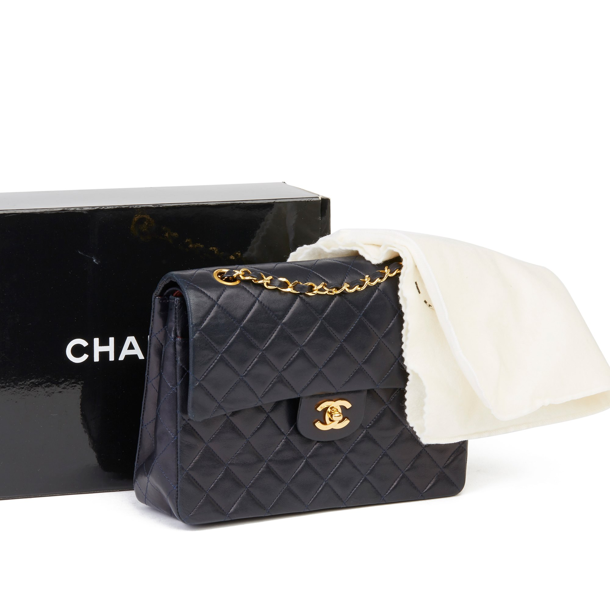 Chanel Navy Quilted Lambskin Vintage Medium Tall Classic Double Flap Bag
