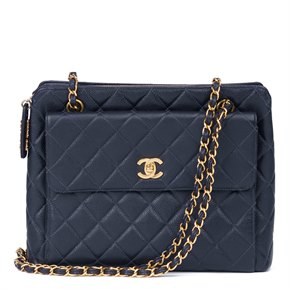 Chanel Navy Quilted Caviar Leather Vintage Classic Shoulder Bag