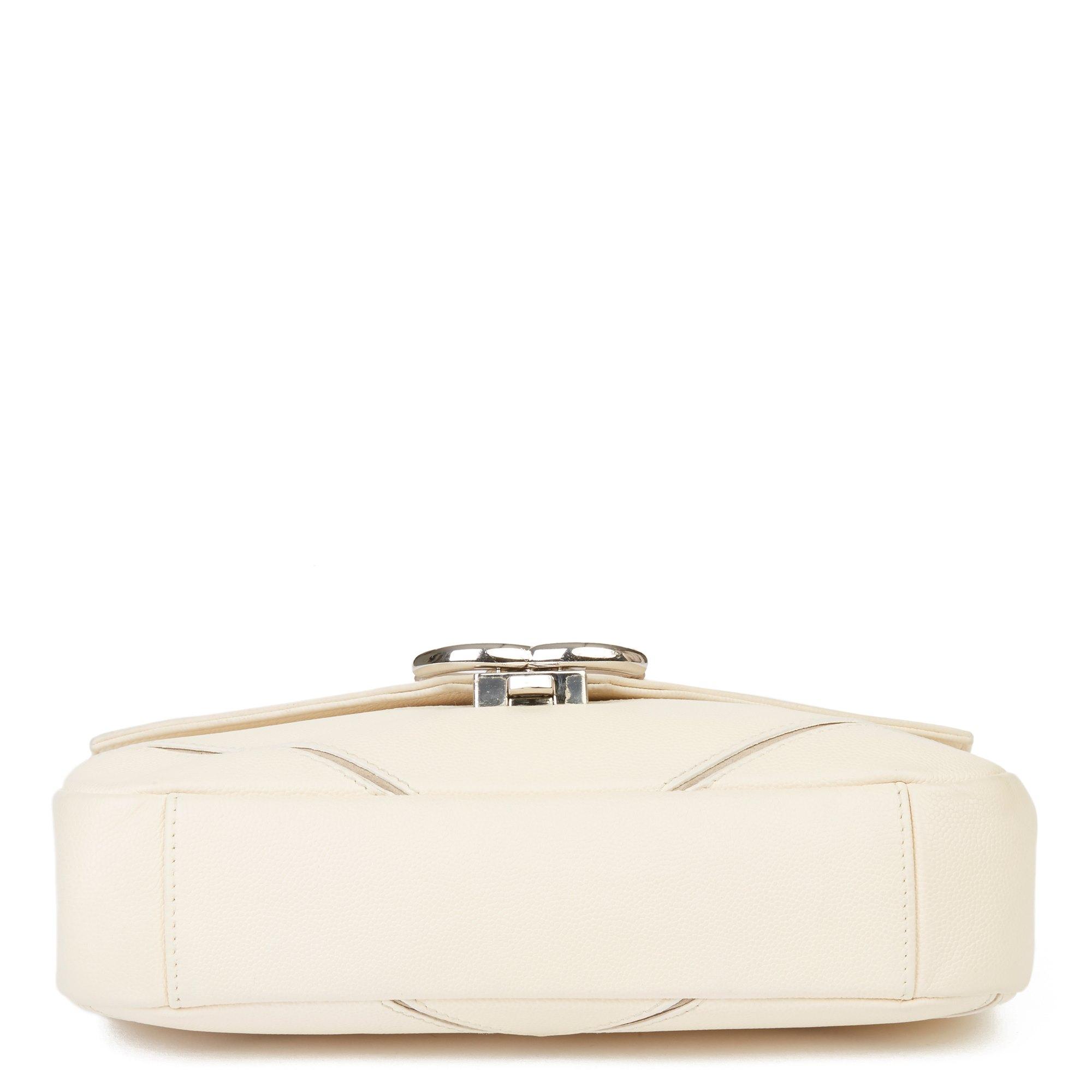 Chanel Cream & Taupe Caviar Leather Chevron CC Flap Bag