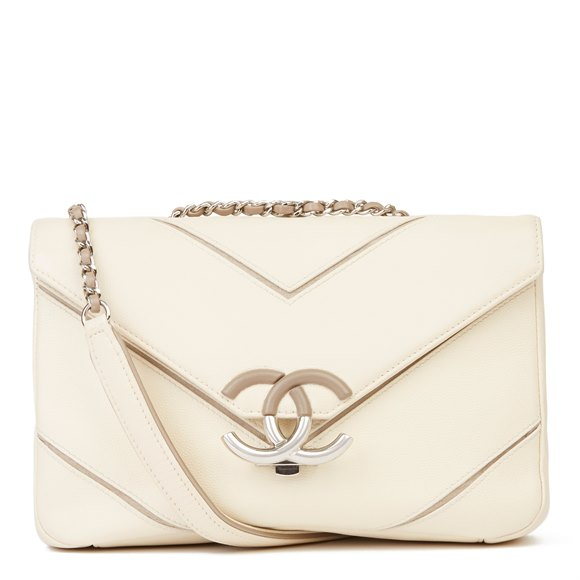 Chanel Cream & Taupe Caviar Leather Chevron CC Flap Bag
