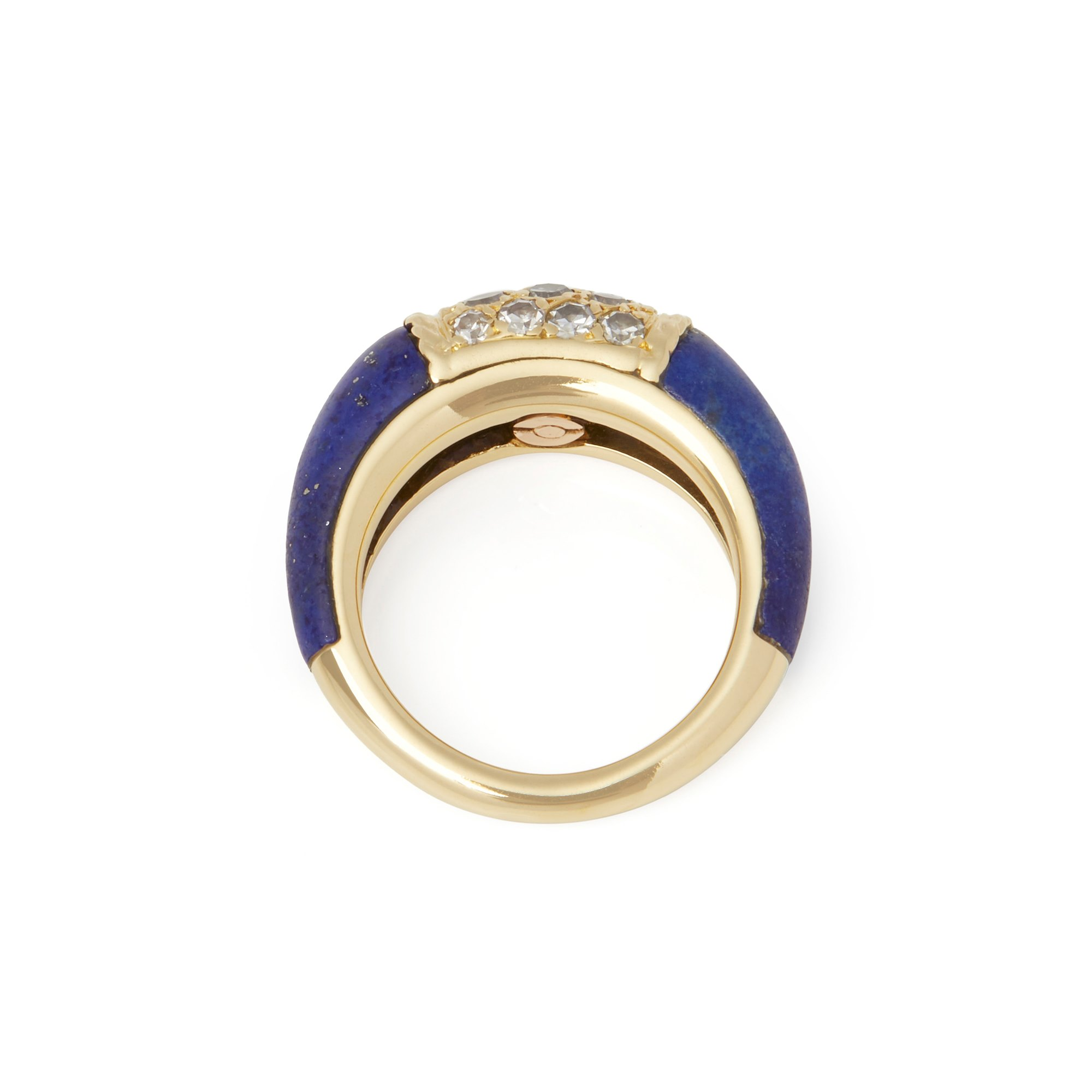 Van Cleef & Arpels 18k Yellow Gold Lapis and Diamond Philippine Ring