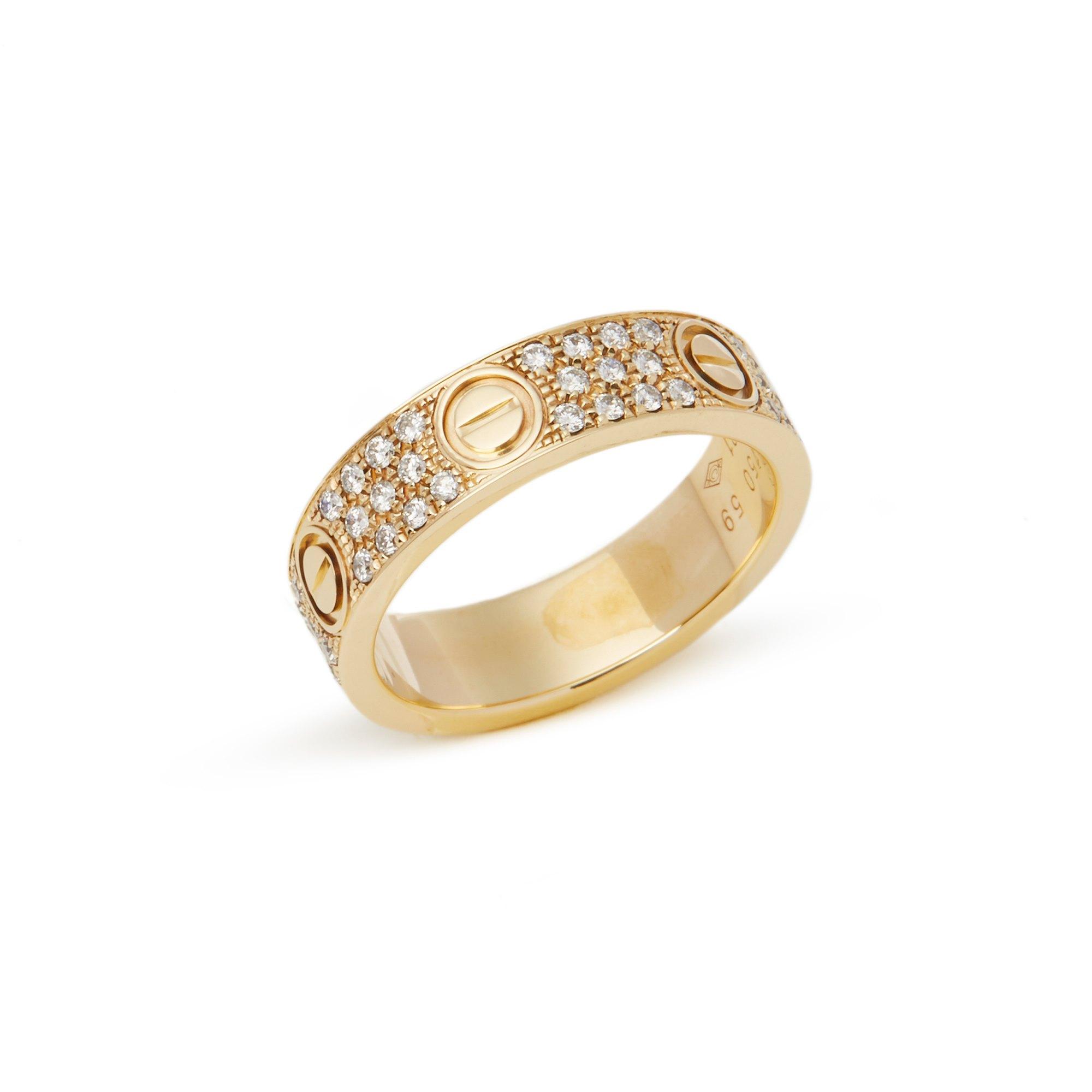 Cartier 18k Yellow Gold Diamond Set Love Ring