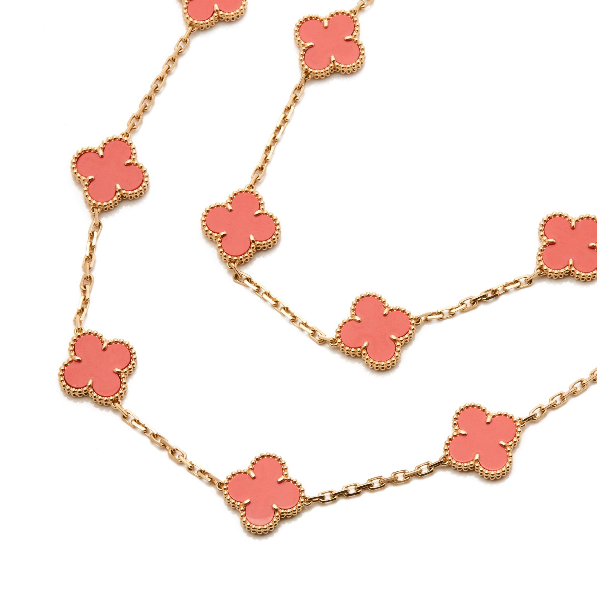 Van Cleef & Arpels 18k Yellow Gold Coral 20 Motif Vintage Alhambra Necklace