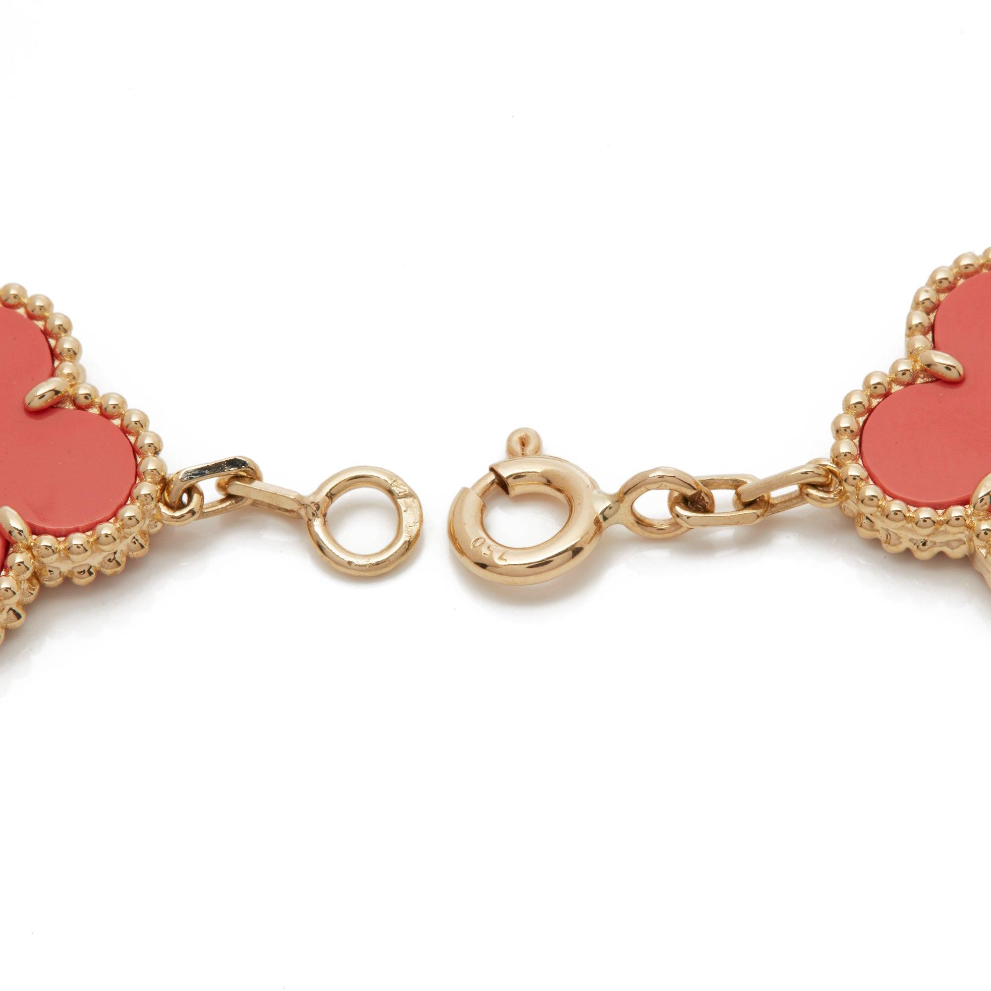Van Cleef & Arpels 18k Yellow Gold Coral 5 Motif Vintage Alhambra Bracelet