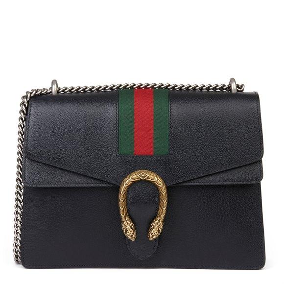 Gucci Black Pigskin Leather Web Medium Dionysus