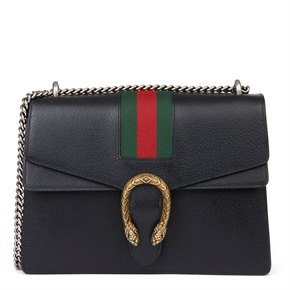 Gucci Black Pigskin Leather Web Medium Dionysus
