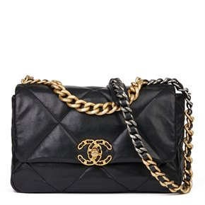Chanel Black Quilted Goatskin Small 19 Flap Bag