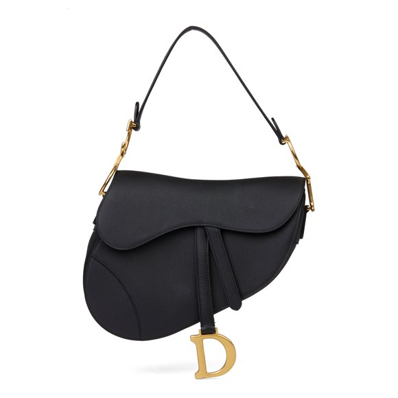 Christian Dior Black Grained Calfskin Leather Saddle Bag