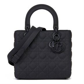 Christian Dior Black Ultramatte Calfskin Leather Medium Lady Dior