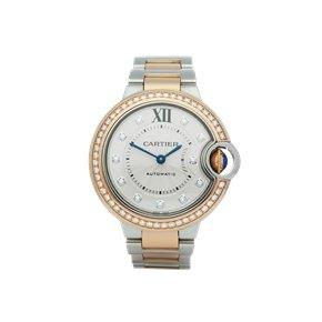Cartier Ballon Bleu 33 Diamond Stainless Steel & Rose Gold - WE902077 or 3753