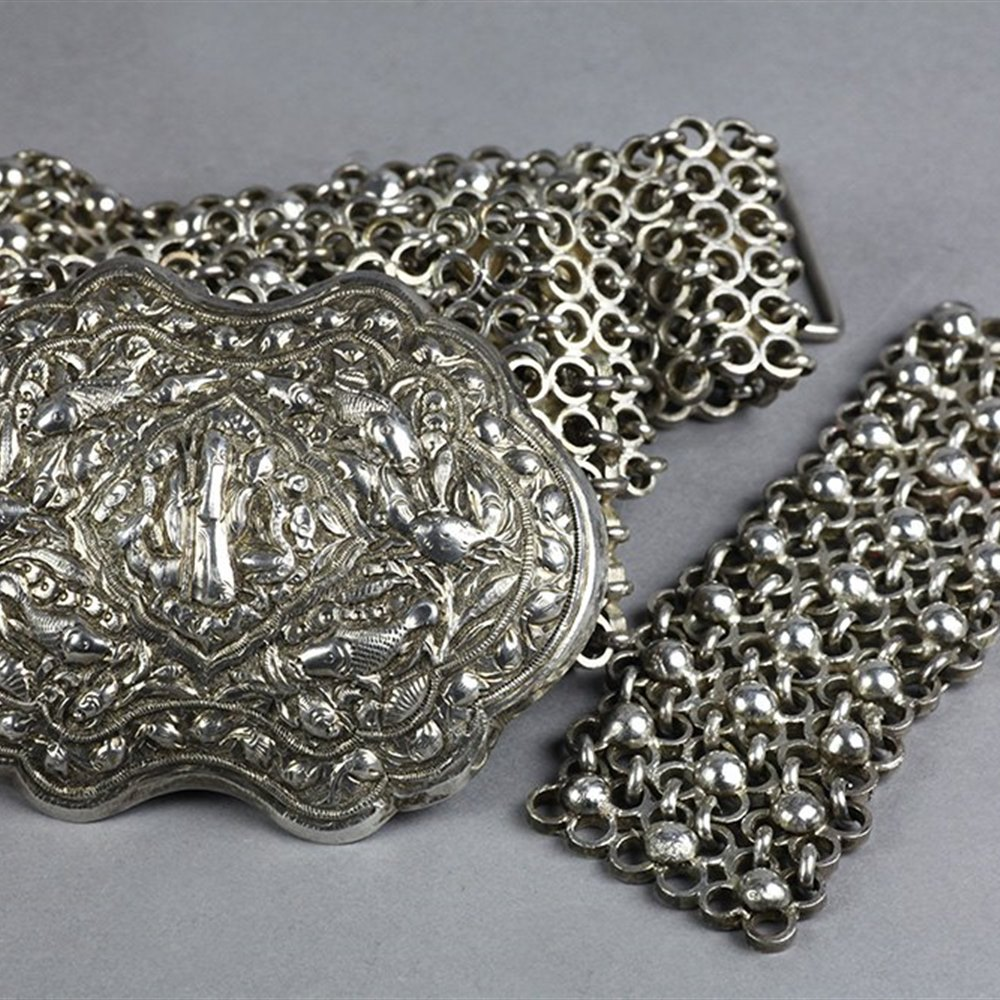 Superb Antique Chinese Silver Belt & Buckle Signed 19th C.
