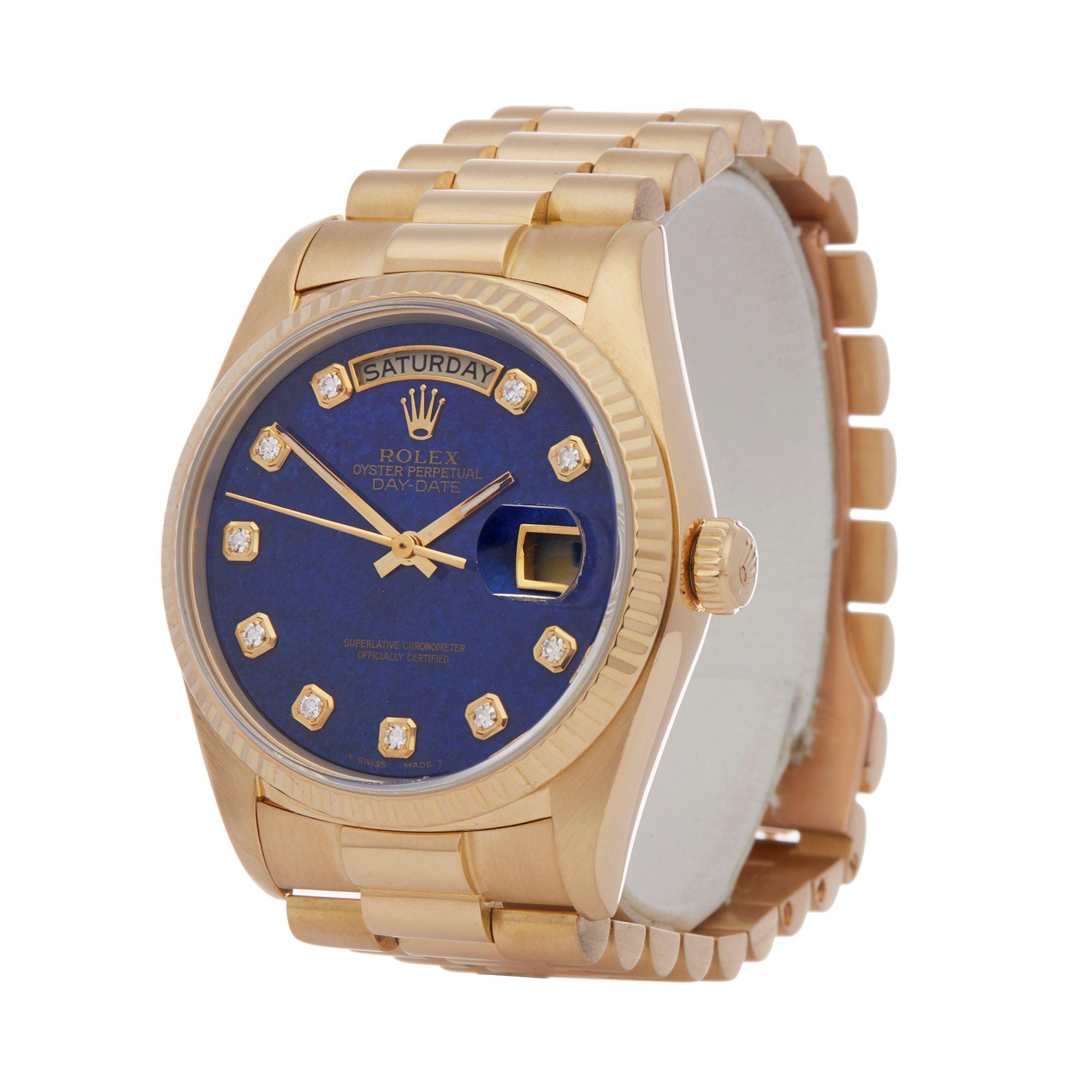 Rolex Day-Date 36 Lapis Lazuli Diamond 18K Yellow Gold 18038