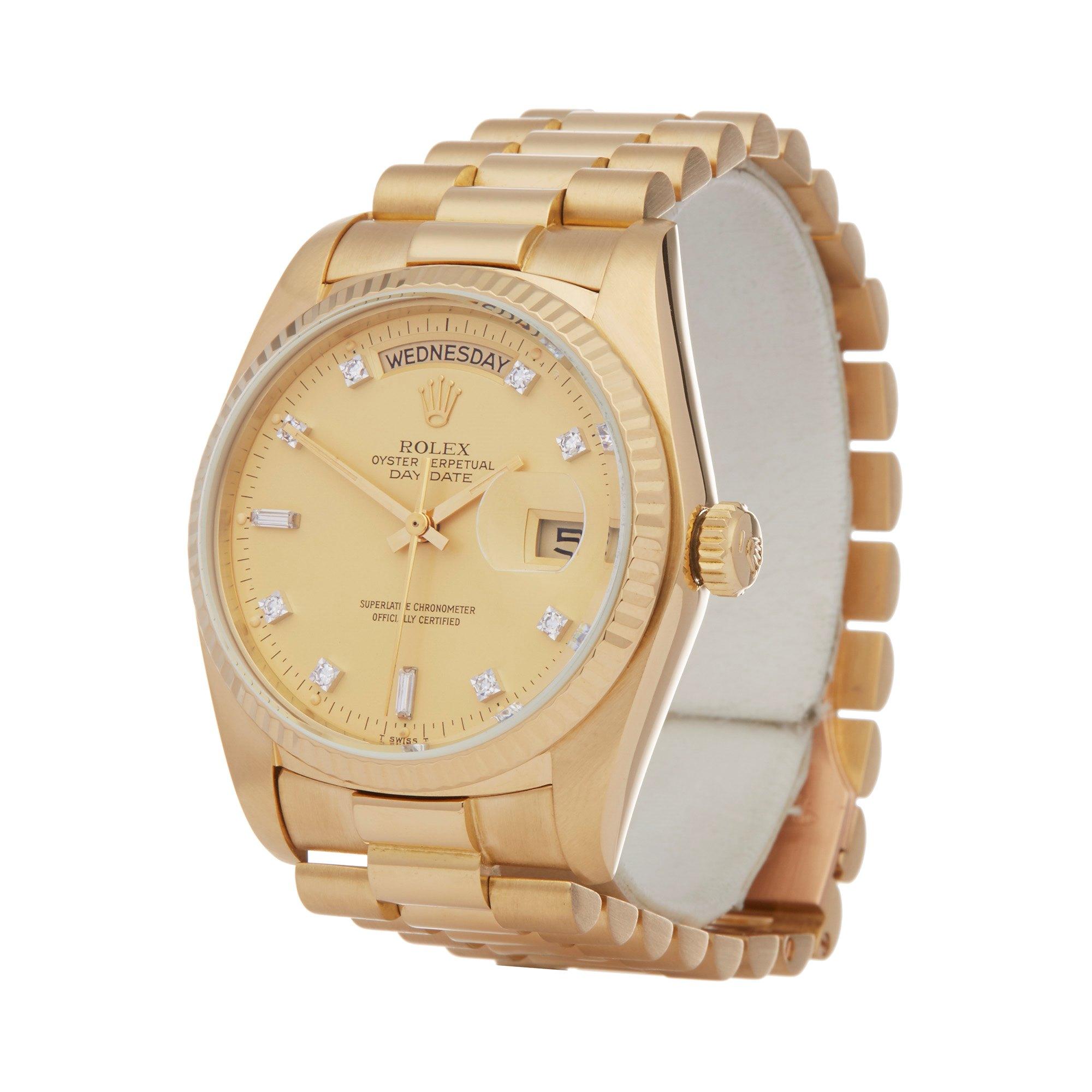 Rolex Day-Date 36 Diamond 18K Yellow Gold 18038