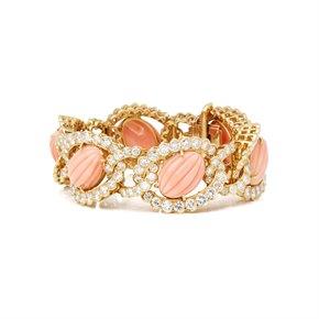 Van Cleef & Arpels 18k Yellow Gold Coral and Diamond Bracelet