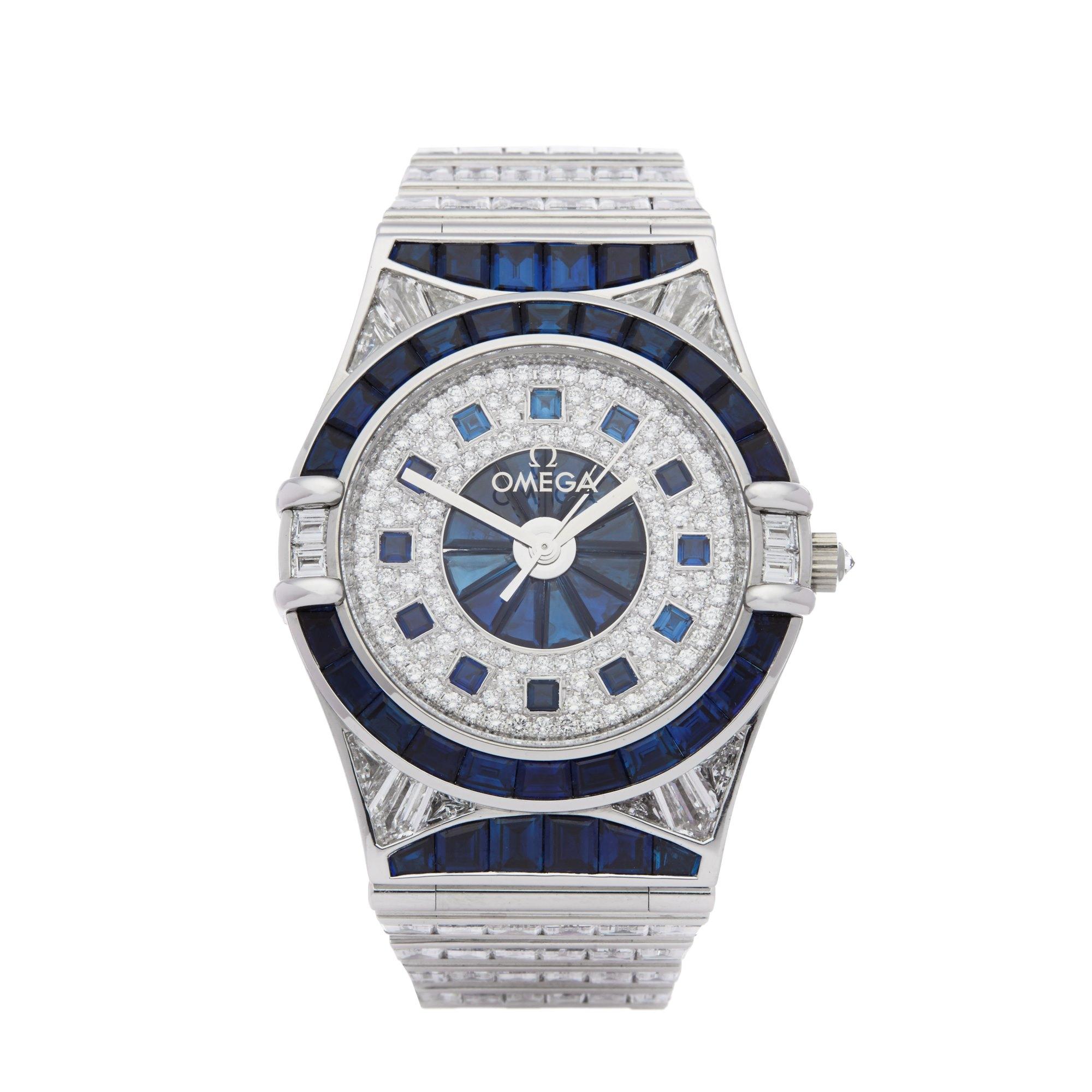 Omega Constellation Diamond & Sapphire 18K White Gold Piece Unique