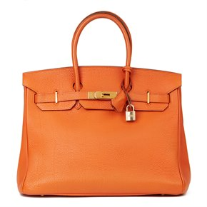 Hermès Orange H Togo Leather Birkin 35cm