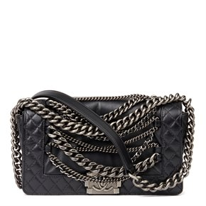 Chanel Black Quilted Calfskin Leather Enchained Medium Le Boy Reverso