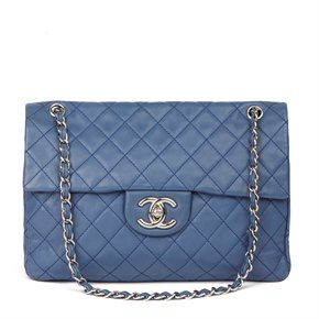 Chanel Blue Quilted Caviar Leather Jumbo Classic Single Flap Bag